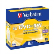 Диск DVD+RW Verbatim 4,7 Gb 4x Jewel Case (ст.5) штука
